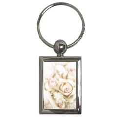 Pastel Roses Antique Vintage Key Chains (rectangle)