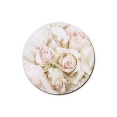 Pastel Roses Antique Vintage Rubber Coaster (round)