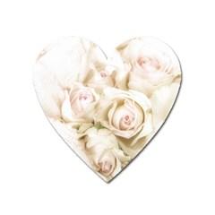 Pastel Roses Antique Vintage Heart Magnet