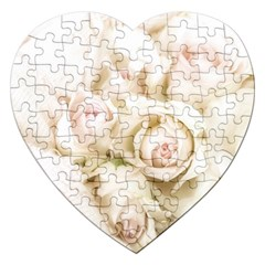 Pastel Roses Antique Vintage Jigsaw Puzzle (heart)