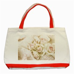 Pastel Roses Antique Vintage Classic Tote Bag (red)