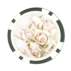 Pastel Roses Antique Vintage Poker Chip Card Guard
