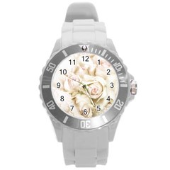 Pastel Roses Antique Vintage Round Plastic Sport Watch (l)