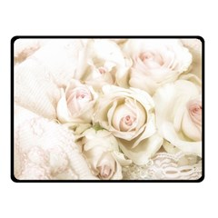 Pastel Roses Antique Vintage Double Sided Fleece Blanket (small)