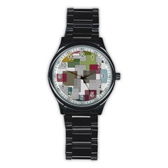 Decor Painting Design Texture Stainless Steel Round Watch