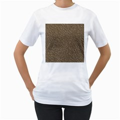 Leather Texture Brown Background Women s T Shirt (white) (two Sided)