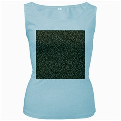 Leather Texture Brown Background Women s Baby Blue Tank Top