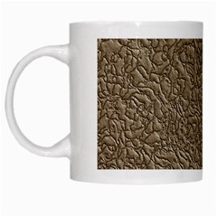 Leather Texture Brown Background White Mugs