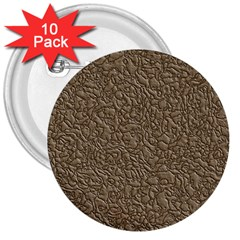 Leather Texture Brown Background 3  Buttons (10 Pack)