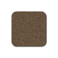 Leather Texture Brown Background Rubber Coaster (square)
