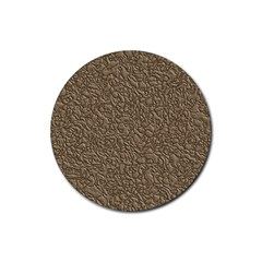 Leather Texture Brown Background Rubber Coaster (round)