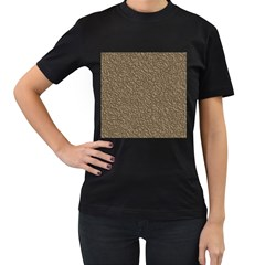Leather Texture Brown Background Women s T Shirt (black) (two Sided)