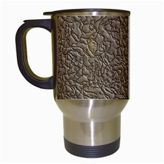 Leather Texture Brown Background Travel Mugs (white)