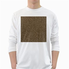 Leather Texture Brown Background White Long Sleeve T Shirts