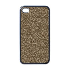 Leather Texture Brown Background Apple Iphone 4 Case (black)