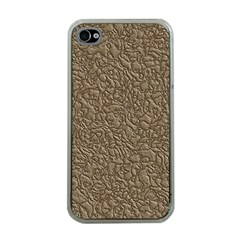 Leather Texture Brown Background Apple Iphone 4 Case (clear)