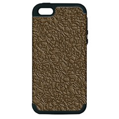 Leather Texture Brown Background Apple Iphone 5 Hardshell Case (pc+silicone)