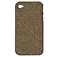 Leather Texture Brown Background Apple Iphone 4/4s Hardshell Case (pc+silicone)