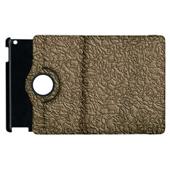 Leather Texture Brown Background Apple Ipad 2 Flip 360 Case
