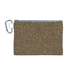 Leather Texture Brown Background Canvas Cosmetic Bag (m)