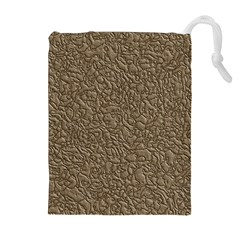Leather Texture Brown Background Drawstring Pouches (extra Large)