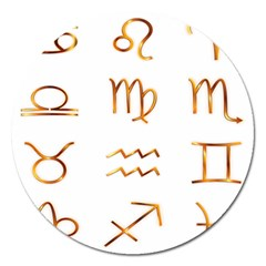 Signs Of The Zodiac Zodiac Aries Magnet 5  (round)