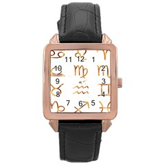 Signs Of The Zodiac Zodiac Aries Rose Gold Leather Watch