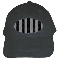 Stripes1 Black Marble & Gray Colored Pencil Black Cap