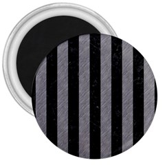 Stripes1 Black Marble & Gray Colored Pencil 3  Magnets