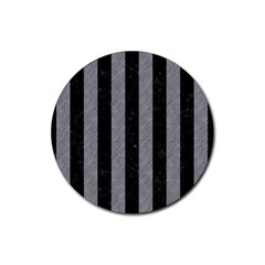 Stripes1 Black Marble & Gray Colored Pencil Rubber Round Coaster (4 Pack)