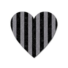 Stripes1 Black Marble & Gray Colored Pencil Heart Magnet