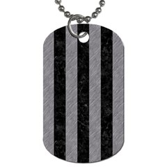 Stripes1 Black Marble & Gray Colored Pencil Dog Tag (one Side)