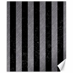 Stripes1 Black Marble & Gray Colored Pencil Canvas 8  X 10