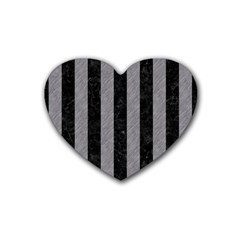 Stripes1 Black Marble & Gray Colored Pencil Heart Coaster (4 Pack)