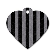 Stripes1 Black Marble & Gray Colored Pencil Dog Tag Heart (one Side)