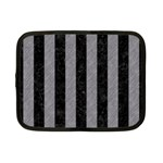 STRIPES1 BLACK MARBLE & GRAY COLORED PENCIL Netbook Case (Small)  Front