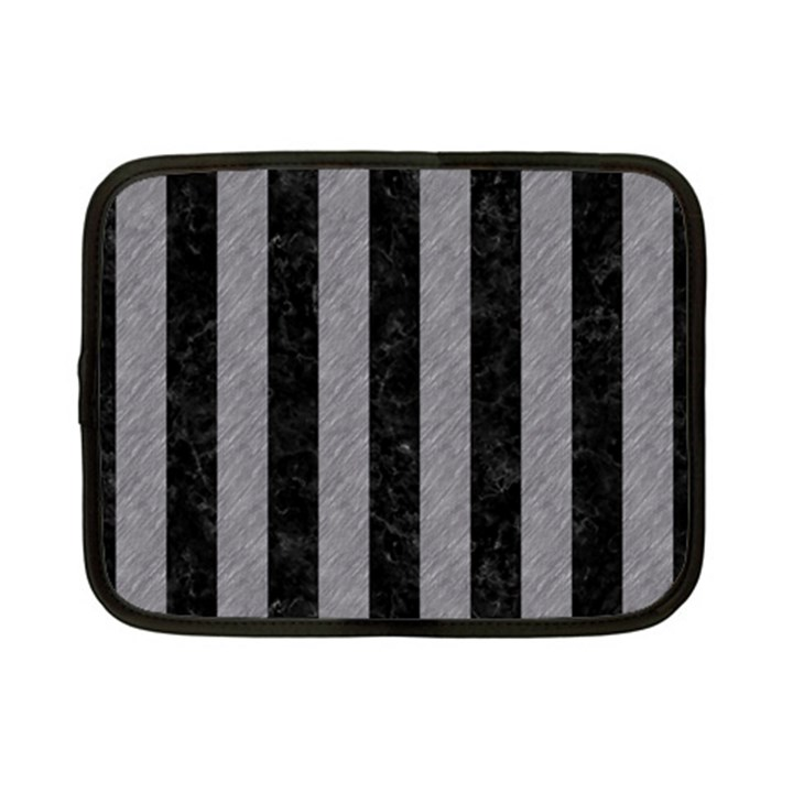 STRIPES1 BLACK MARBLE & GRAY COLORED PENCIL Netbook Case (Small)