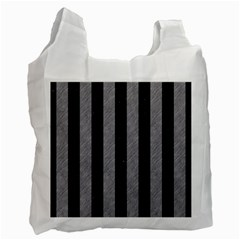 Stripes1 Black Marble & Gray Colored Pencil Recycle Bag (two Side)