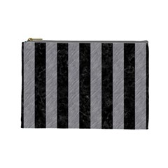 Stripes1 Black Marble & Gray Colored Pencil Cosmetic Bag (large)