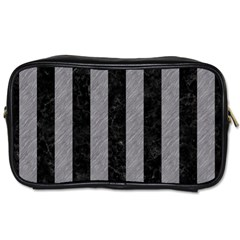 Stripes1 Black Marble & Gray Colored Pencil Toiletries Bags 2 Side