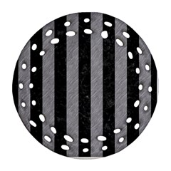 Stripes1 Black Marble & Gray Colored Pencil Ornament (round Filigree)