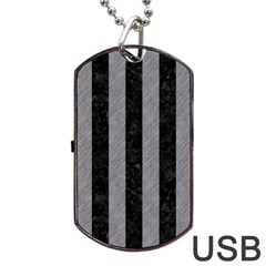 Stripes1 Black Marble & Gray Colored Pencil Dog Tag Usb Flash (one Side)