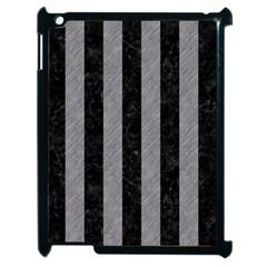 Stripes1 Black Marble & Gray Colored Pencil Apple Ipad 2 Case (black)