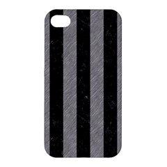 Stripes1 Black Marble & Gray Colored Pencil Apple Iphone 4/4s Premium Hardshell Case