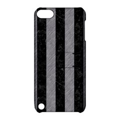 Stripes1 Black Marble & Gray Colored Pencil Apple Ipod Touch 5 Hardshell Case With Stand