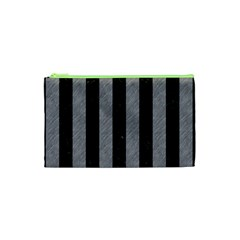 Stripes1 Black Marble & Gray Colored Pencil Cosmetic Bag (xs)