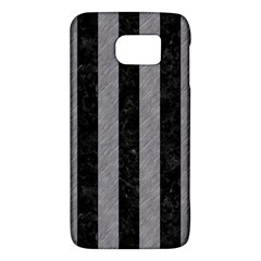 Stripes1 Black Marble & Gray Colored Pencil Galaxy S6