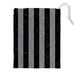 Stripes1 Black Marble & Gray Colored Pencil Drawstring Pouches (xxl)