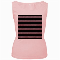 Stripes2 Black Marble & Gray Colored Pencil Women s Pink Tank Top