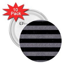 Stripes2 Black Marble & Gray Colored Pencil 2 25  Buttons (10 Pack)